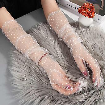 Dámské krátké tylové rukavice, pružné krajkové skvrny palčáky s plným prstem