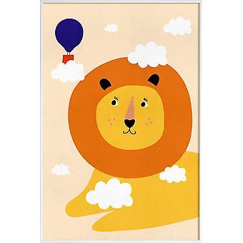 JUNIQE Print - Head in the Clouds - Lion poster en coloré