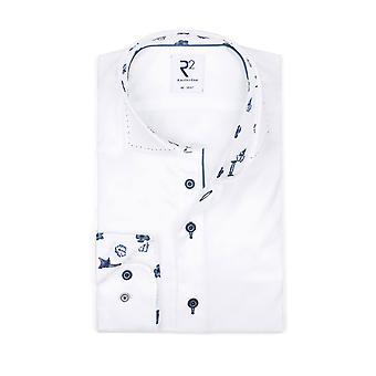 R2 Cut Away Collar Long Sleeved Shirt White