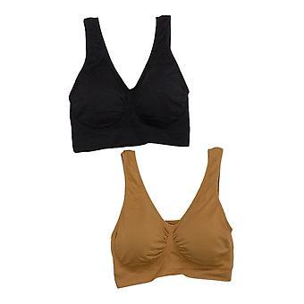 Rhonda Shear One 2-Pack Skintone Seamless Ahh Black Bra 725705