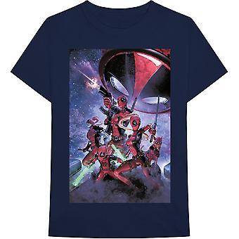 Marvel Comics - Deadpool Family Heren Groot T-Shirt - Navy Blue