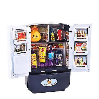 Blue 9pcs new simulation refrigerator toy children's simulation double door mini refrigerator set dt5479