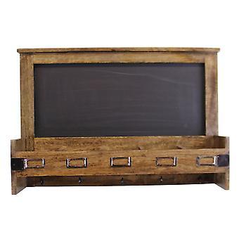 Mango Wood Blackboard med 5 förvaringsplatser & nyckelkrokar