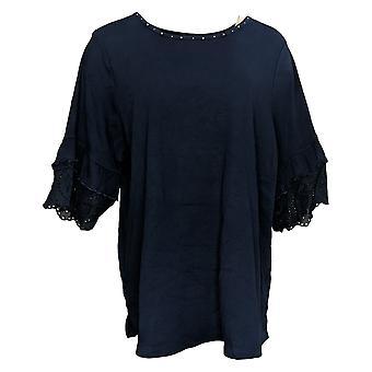 Quacker Factory Women's Plus Top Double Ruffle Lace Sleeve Blue A378441