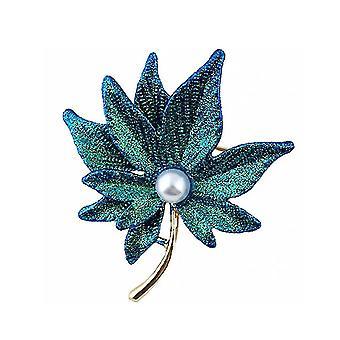 Korsas klon liść panie broszka podwójna warstwowa perłowa broszka pin zielony