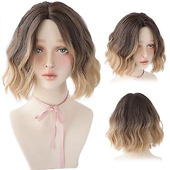 Σύντομη σγουρή περούκα lolita με κτυπήματα για τις γυναίκες βαθιά μαλλιά κυμάτων omber καφέ συνθετική θερμότητα ανθεκτική cosplay bob περούκες