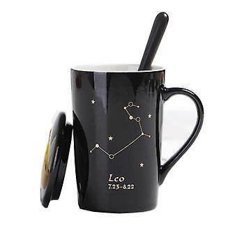 Three Piece Creative Ceramic Mugs With Spoon Lid Black (black)