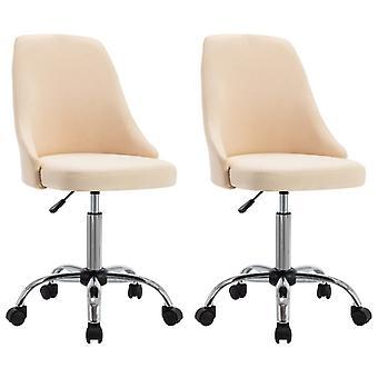 vidaXL مكتب الكراسي 2 PCS. كريم النسيج