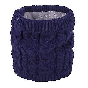 Ζεστό κασκόλ το χειμώνα, πλεκτό κασκόλ για ζευγάρια, καθαρό χρώμα συν βελούδινο μαντήλι (μπλε)