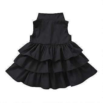 Meninas crianças bolo sem mangas babado vestido tutu 100cm preto