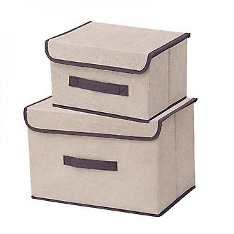 Foldable Storage Box  With Lids Stackable Linen Fabric Storage Container