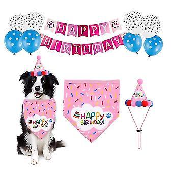 Huisdier verjaardagsfeest decoratie set verjaardag hoed, driehoek sjaal (Roze)