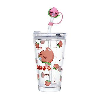 480Ml glass water bottle with straw cartoon clouds straw cup leakproof portable drinking bottle with a sealing cap lid