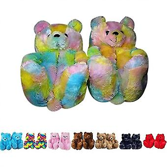 Women Plush Teddy Bear Slippers Home Indoor Soft Anti-slip Faux Fur Cute Slippers(6-9)(Color)