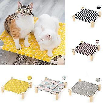 Cat Hammocks Bed Wood Canvas Cat Lounge Bed For Small Rabbit Cats Dogs Durable Canvas Pet House