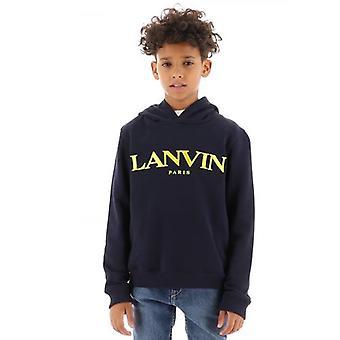 Lanvin Kids Navy Logotyp Hoodie