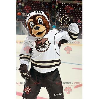 Mascote REDBROKOLY.COM urso marrom em trajes de hóquei