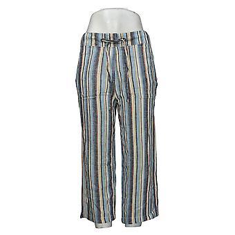 Denim &co. kvinners bukser naturals vanlig lin blanding avling blå A377306