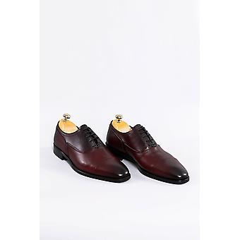 Burgunder skinn klassiske sko | Wessi