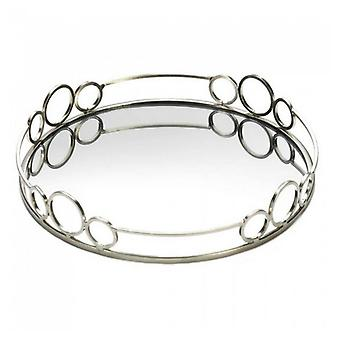 Accent Plus Silver Circles 12-inch Mirror Tray, Pack of 1