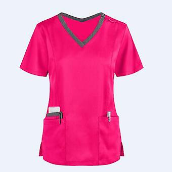 קיץ נשים עבודה מדים נשים צווארון V שרוול קצר חולצות כיס