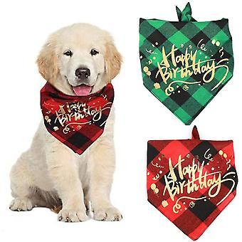Triangular Perro Bandana, 2 Piezas Perro Triangular Bandana Baberos, Perro Cumpleaños Bandana (rojo Negro Y Verde Negro)