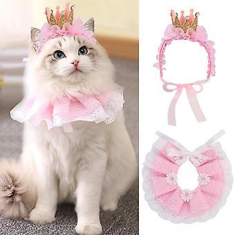 Csipke macska bandana és macska korona kiegészítők, kis kutya rózsaszín jelmez