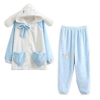 Höst- och vinterdamernas hemtjänst Söt söt kanelhund Tvådelad lång pyjamas flanell varm och bekväm pyjamas hemtjänst