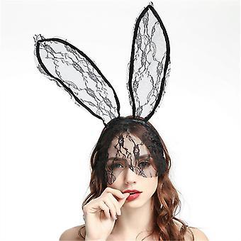 אווהגו ארנב אוזניים כיסוי ראש מסכת תחרה רעלות ארוך ארנב אוזן שיער כיסוי ראש נשף קוספליי כיסוי ראש תלבושות אביזרים שיער מתנה לחג המולד עבור