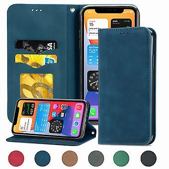 Étui pour Iphone Xr Fermeture magnétique Cuir Portefeuille Housse Housse Etui Antichoc - Bleu