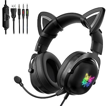 Cat Ear Wired Gaming Headset With Micophone For Pc Laptop Ps4 Xbox One