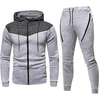 Herren's Trainingsanzug Set Camouflage Sweatshirt Jogger Sweatpants solid Patchwork Warm Sports Anzug