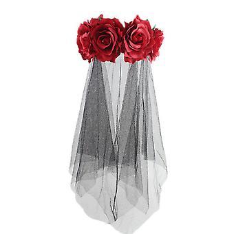 Künstliche Rose Blume Schwarz Mesh Karneval Stirnband