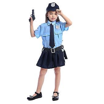 Süßes Mädchen Kleine Polizei Spiel Cosplay Halloween Weihnachten