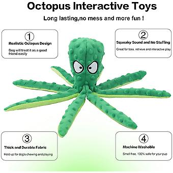Dog Squeaky Toy Octopus-non-stuffed, Wrinkle-free Plush Dog Toy For Puppy Teething, Durable Interactive Dog Chew Toy, 2-piece Pack