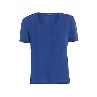 Blauen Chiffon Tee mit Schulter Zip Detail TP550-10