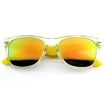 Avertisseur lumineux bicolore translucide acétate Rimmed lunettes w / lentille miroir couleur