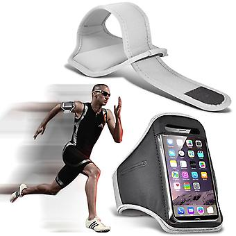 (White) Adjustable Sweatproof/Water Resistent Sports Fitness Running Cycling Gym Armband Phone Case For Amigoo R300 [ XXL ]