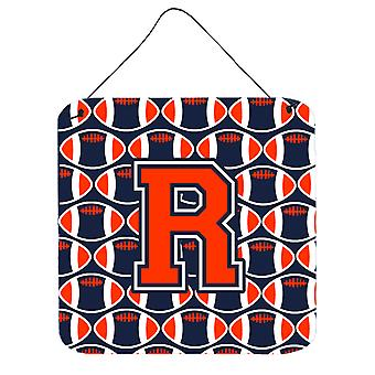 Letter R Football Orange, Blue and white Wall or Door Hanging Prints