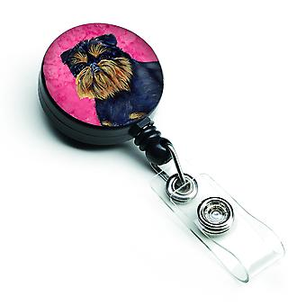 Carolines Treasures  LH9388PKBR Pink Brussels Griffon Retractable Badge Reel