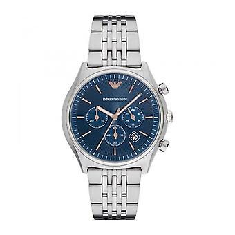Emporio Armani Mens Gents polso orologio d'argento in acciaio inox cinturino quadrante blu AR1974