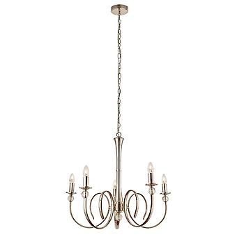 Interiors 1900 Fabia Chandelier 5 Light Nickel Plated With Curved Arms