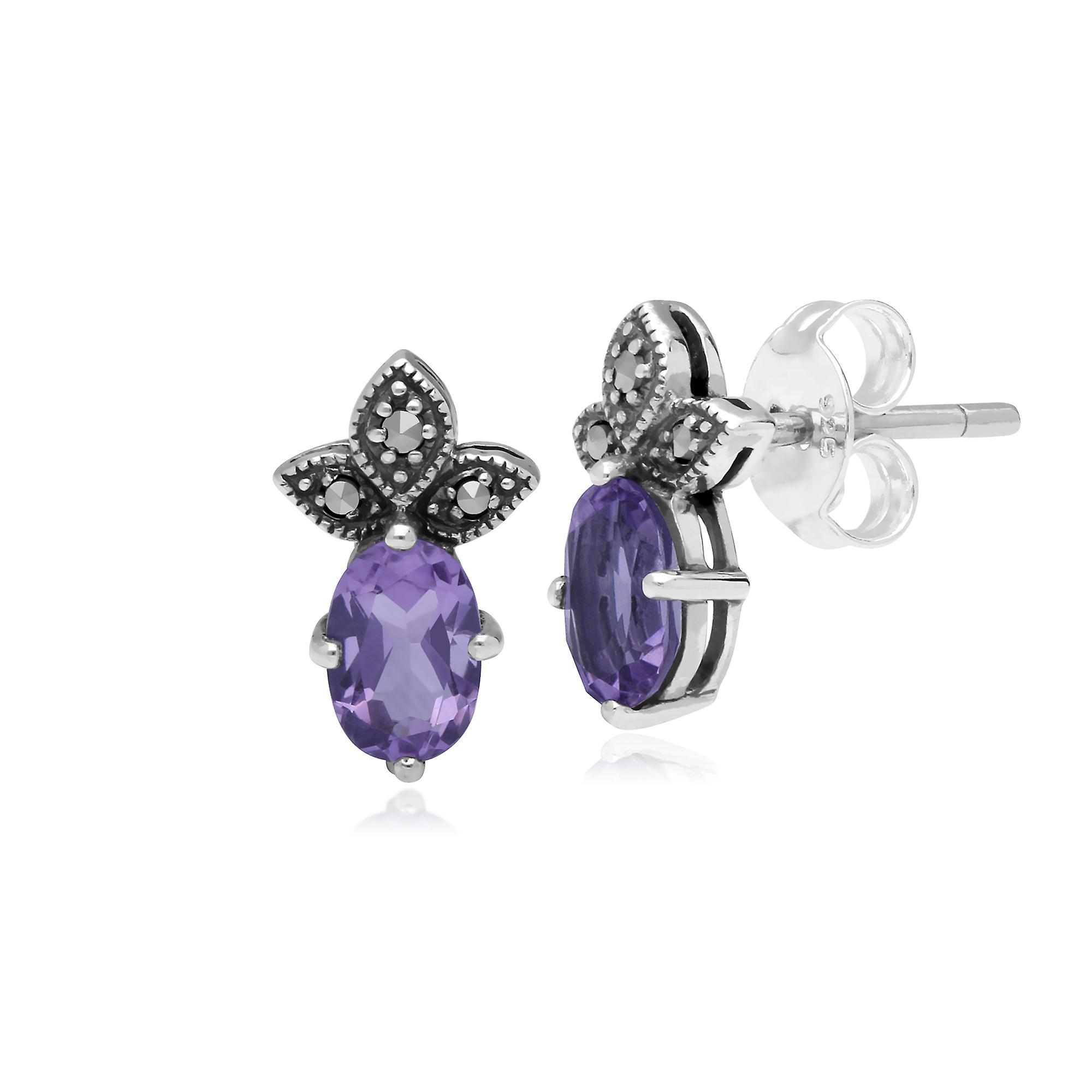 Gemondo Sterling Silver Amethyst & Marcasite February Stud Earrings