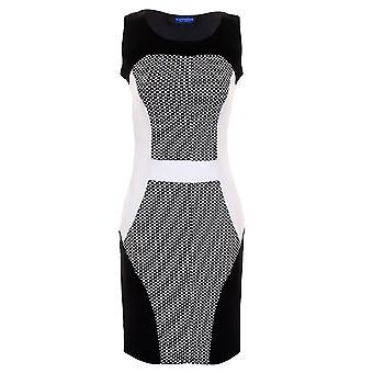 Panie Polka Dot teksturowanej kontrast panele Slim Effect Bodycon damskie Party Dress