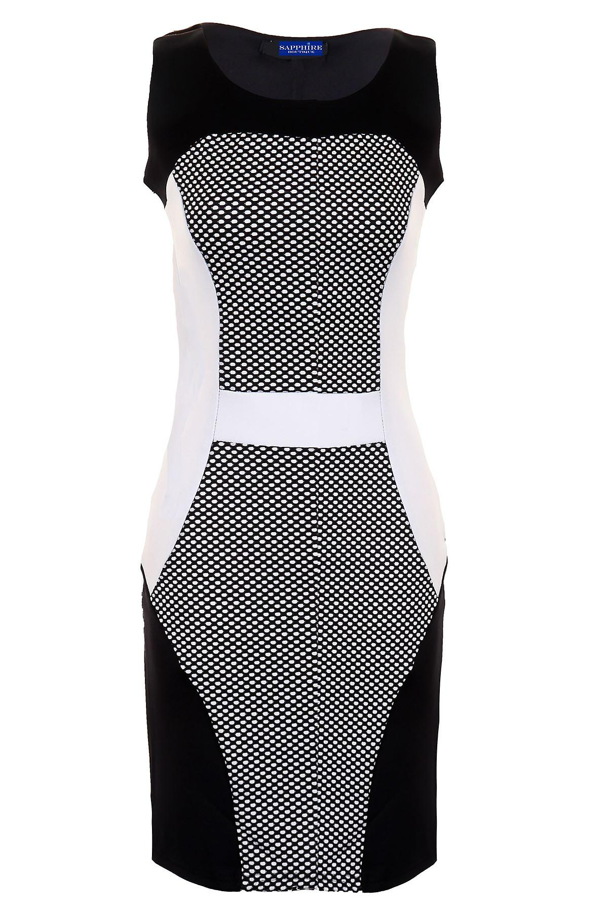 Ladies Polka Dot Textured Contrast Panels Slim Effect Womens Bodycon Party Dress