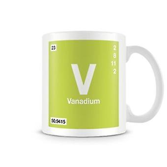 Научные печатные кружка, показывая элемент символ 023 V - ванадия