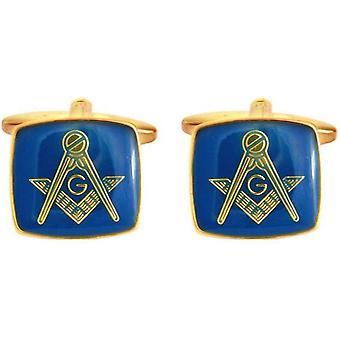 David Van Hagen Masonic Enamel Square Cufflinks - Blue