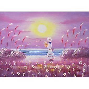 A girl on the beach, oil painting 30x40 cm