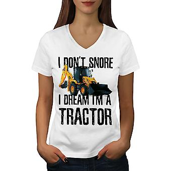 I Don't Snore Tractor Women WhiteV-Neck T-shirt | Wellcoda
