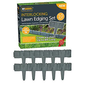 20pk Interlocking Lawn Edging Set Cobbled Stone Effect Borders Flowerbeds Paths
